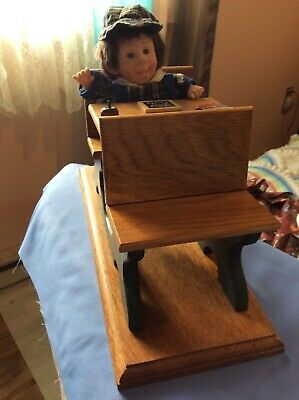 VTG Handmade  Wooden Toy Doll Childs School Sturdy  Desk ~Doll Included ~