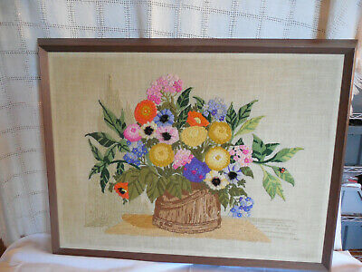 Vintage needlepoint  completed, finish work flowers in a bucket 1970's framed