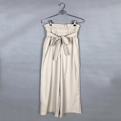 e58a796f Zara Pants High Waist Belted Paper Bag Beige Wide Leg Cropped Trousers Size  S