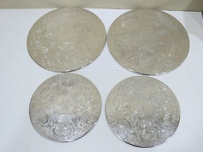 Vintage Lot of 4 Silver Plate Round Etched Serving Trivets,  England