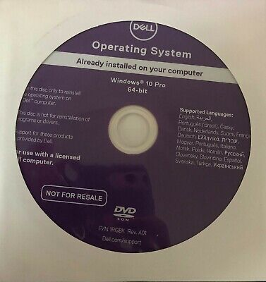 DVD d'installation windows 10 PRO 64BIT DELL NEUF
