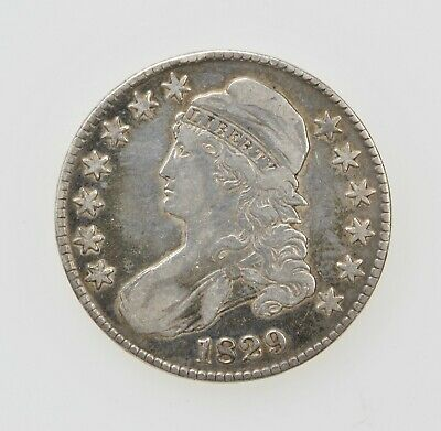1829 U.S. CAPPED BUST HALF DOLLAR SILVER TYPE COIN 1800's