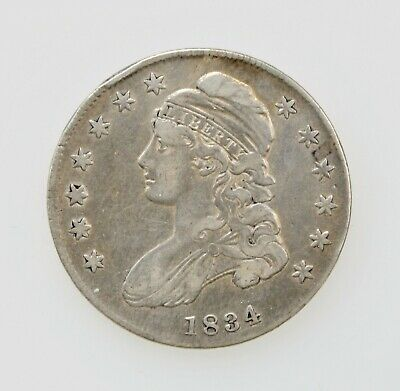 1834 U.S. CAPPED BUST HALF DOLLAR SILVER TYPE COIN 1800's