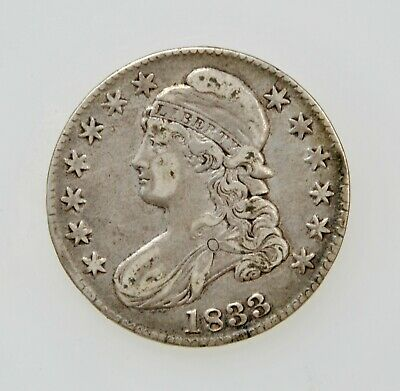 1833 U.S. CAPPED BUST HALF DOLLAR SILVER TYPE COIN 1800's