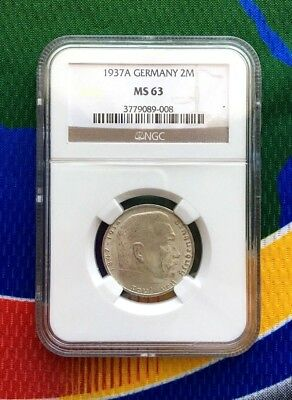 NGC MS 63 1937 A 2 mark German WWII Silver Coin Third Reich Reichsmark 5*