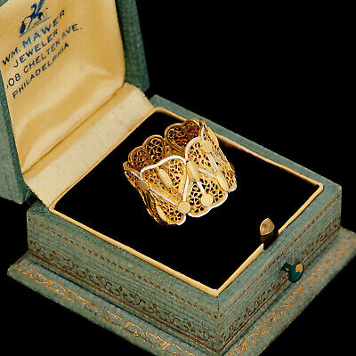 Antique Vintage Deco Sterling 800 Silver Gold Portuguese Filigree Ring Sz 4.75