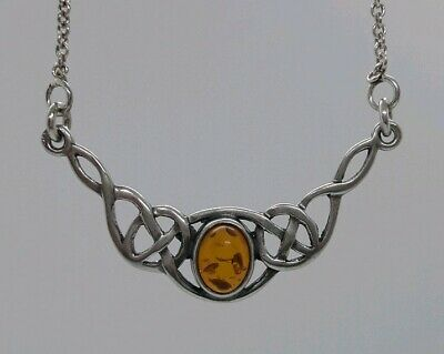 Beautiful Vintage Solid Sterling Silver Celtic Knot Chain Pendant Necklace Amber
