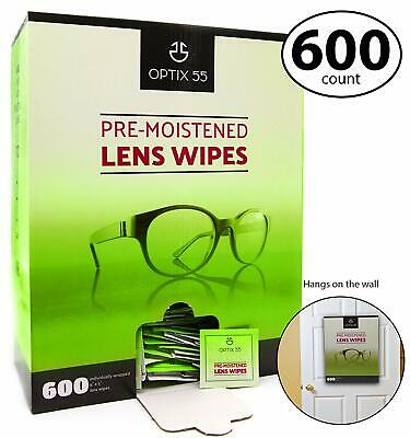 Pre-Moistened Lens Cleaning Wipes - 600 Cloths - Safely Cleans Glasses S... New