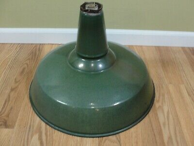 "VTG 18"" Green Enamel Porcelain Light Shade Industrial Bar Station Benjamin  (B)"
