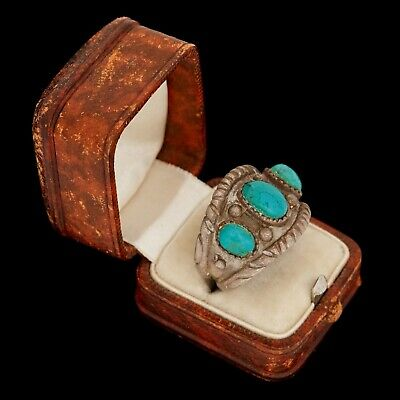 Antique Vintage Sterling 925 Silver Native Navajo Old Pawn Turquoise Ring S 9.25