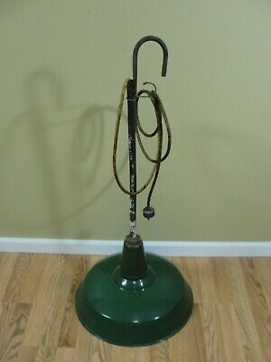 "VTG 18"" Hanging Green Enamel Porcelain Light Shade Industrial Station Benjamin"