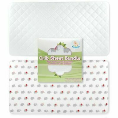 Baby Fitted Crib Sheet + Bamboo Fabric Mattress Protector Set Organic Cotton 2pc