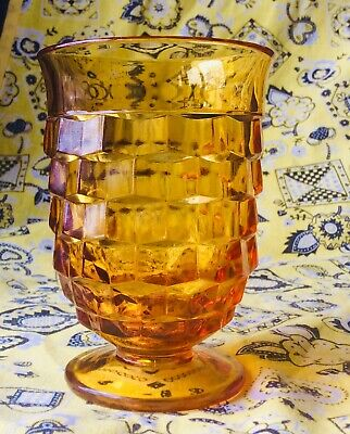 Vintage Indiana Amber Glass Colony Whitehall Cubist Small Juice Glass PRISTINE!