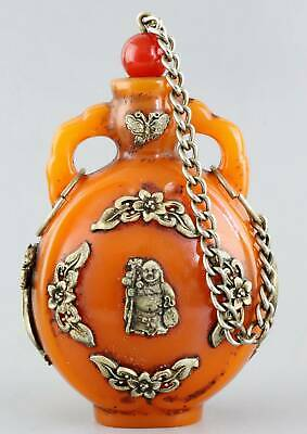 Collect Old Amber Inlay Tibet Silver Carve Buddha & Flower Lucky Snuff Bottle