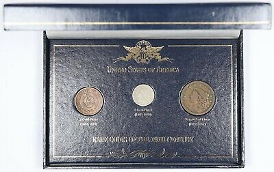 Rare Coins of the 19th Century Set 1838 Large Cent 1865 2-Cent 1868 3-Cent