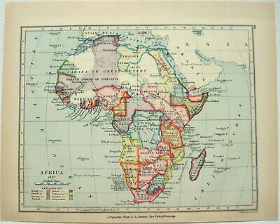 Antique Map of Colonial Africa in 1897 by Longmans Green & Co.