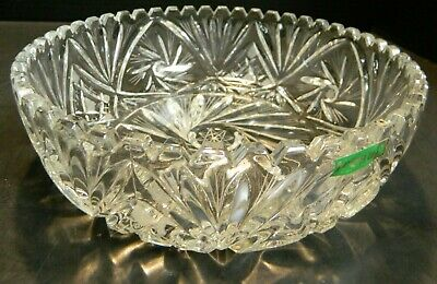 """Vintage Bohemian Irena Hand Cut Crystal Scalloped Bowl Poland 3"""" x 9.38"""" Excell"""