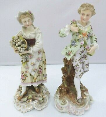 Pair of Antique European China Figurines Man & Woman, Beautifully Decorated