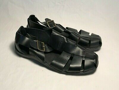 Cole Haan Country Black Leather Fisherman Sandals Men Size 10.5 M