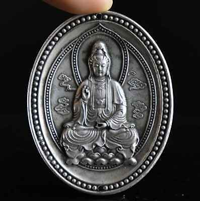 Collect China Antique Tibet Silver Carve Kwan-Yin Moral Exorcism Amulet Pendant