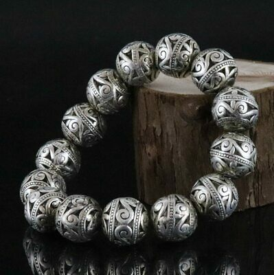Collect China Tibet Silver Carve Tibetan Culture Bead Delicate Decorate Bracelet