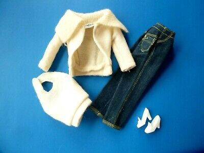 Vintage Barbie White Cardigan, Halter, Jeans & Shoes From 1960'S
