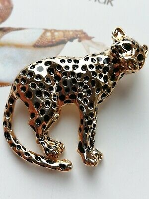 153 Art Deco Vintage Gold Plated Emerald Eye Leopard Cheetah panther Cat Brooch
