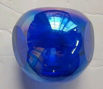 Gorgeous Designs Cobalt Blue Iridescent Cased Glass Round Cut Glass Vase Candle