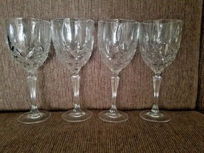 Set of Four Marquis by Waterford Crystal Water Wine Glasses Markham Pattern