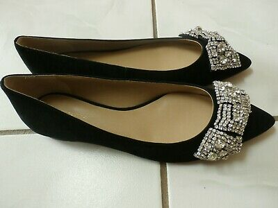 291cb50d753f NEW Ann Taylor Womens Size 7.5 Black Rhinestone Bow Suede Leather Sole Flats