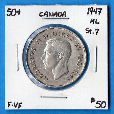 Canada 1947 Maple Leaf 50 Cents Fifty Cents Silver Coin - F/VF