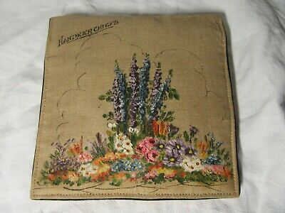 Vintage 1930/40s Hand Painted HANDKERCHIEF Wallet & 4 Embroidered Examples