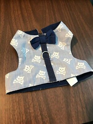 Cat Harness Size Small Pet Feline Apparel Clothing Blue With White