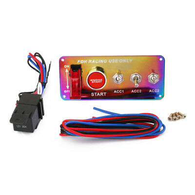 Racing Car 12V Engine Start Push Button Rot LED Toggle Ignition Switch Panel