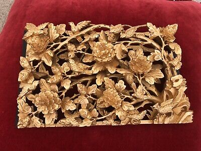 Antique Chinese Gold Gilt Over Red Lacquer  Wood Carved Panel Flowers And Birds