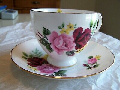 Queen Anne English Bone China  Rose Tea Cup and Saucer Ridgway Potteries EUC