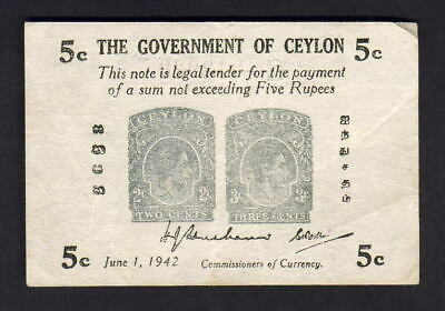 Ceylon P-42a. 1942 Five Cents..  aVF