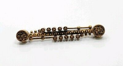 Antique Victorian Edwardian 10k Yellow Gold Detailed Pin Brooch