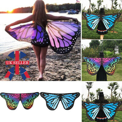 Soft Fabric Butterfly Wings Shawl Fairy Ladies Nymph Pixie Costume Accessory UK