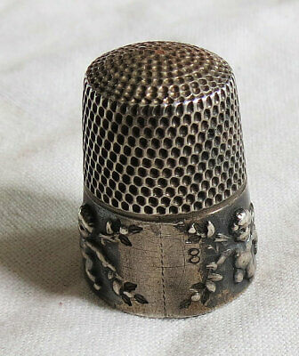 Patented Sterling Silver Thimble Cupid/Cherub Simons Brothers #8 Old Vtg Antique
