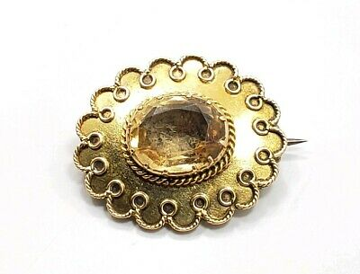 Antique Victorian Edwardian 10k Yellow Gold Scrollwork Citrine Pin Brooch