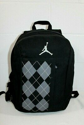 107174a24b3 Nike Air Jordan Jumpman Black/Gray Argyle Front Design Book Bag Backpack  Laptop