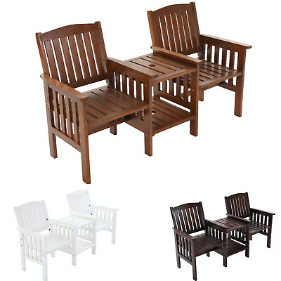 Outdoor Two Seater Jack & Jill Loveseat Bench Chair Side Table Patio Wooden Set