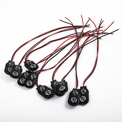 10Pcs PP3 9V Battery Connector Clip Tinned Wire Leads 150mm For Multi-meter
