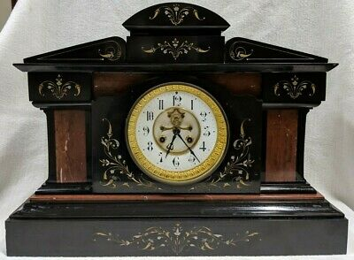 "Antique French  Medaille De Bronze All Marble Mantel Clock - 21"" 64LBS"
