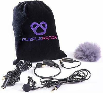 Purple Panda Lavalier Lapel Microphone Kit - Clip-on Omnidirectional Condenser