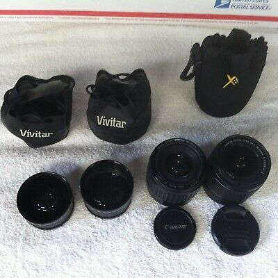 LOT 4 GOOD USED CAMERA LENSES CANON EFS 18-55mm 35-80mm ZOOM VIVITAR HD4 MC AF +