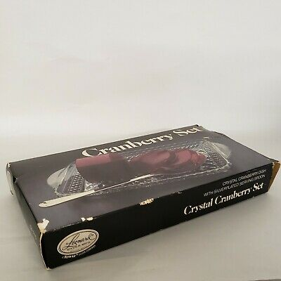 Vintage Leonard Silver Plated Crystal Cranberry Dish with Silver Plated Spoon