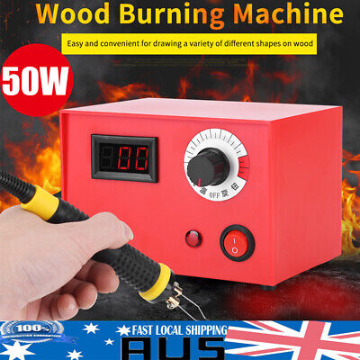 50W Digital Display Pyrography Pen Machine Kit Set Wood Burning Craft Tool AU