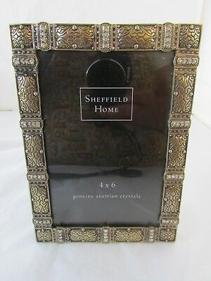 Sheffield Home Genuine Austrian Crystals Metal Picture Frame Antique Style